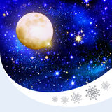 Full Moon on a starry skies. Christmas night sky background and stars.Full Moon on a starry skies Royalty Free Stock Images
