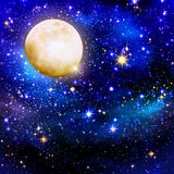 Full Moon on a starry skies. Christmas night sky background and stars.Full Moon on a starry skies Stock Image