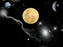 Full moon on starry sky Stock Images