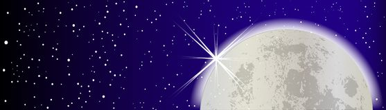 Full Moon With Stars Banner. Halloween full moon with stars and outer glow Stock Photo