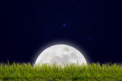 Full moon with stars and field of green hill on darkness sky. Stock Images
