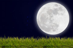 Full moon with stars and field of green hill on darkness sky. Stock Photo