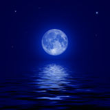 Full moon and stars reflected in the water surface Stock Images