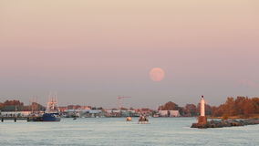 Full Moon, Steveston Harbor Royalty Free Stock Images