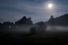 Full moon on the suburb of the village Royalty Free Stock Images