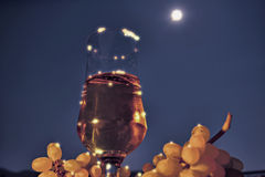 Full moon. Summer, beer and the full moon stock photo