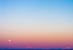 Full moon Sunset in Japan Stock Photography