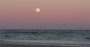 Full moon sunset Ocean sand Texas 4K