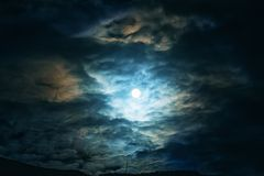 Full moon or supermoon in night blue sky with clouds, dramatic mysterious atmosphere. Toned stock photo