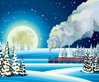 Full moon and train with smoke on a snowdrift background. Yellow full moon and train with smoke on a snowdrift background.  Winter night landscape Stock Image