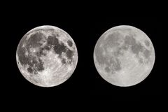 Full Moon with two exposures at night royalty free stock images