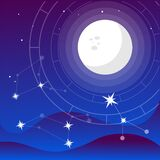 Full Moon vector flat Illustration on night colors gradient backgroud with constellation of stars and soft light and mountaings