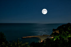 Full moon. View of sea and full moon Royalty Free Stock Image