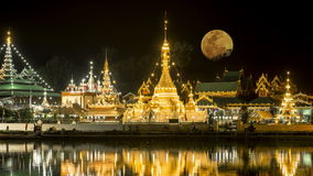 Full Moon at Wat Jong Kham and Jong Klang Temple stock footage