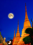Full moon and Wat Pho Temple or Wat Phra Chetuphon, Bangkok Thailand. Full moon and Wat Pho Temple, Bangkok Thailand. Wat Pho known also as the Temple of the Royalty Free Stock Photography