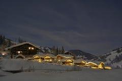 Free Full Moon Winter Night Fairytale, Houses Under Snow Royalty Free Stock Photos - 137664938