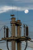 Full Moon and Wires Royalty Free Stock Image