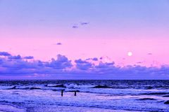 Full moonrise on guarajuba beach royalty free stock images