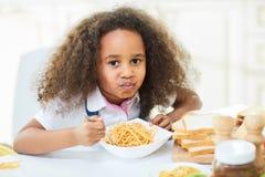 Full mouth of tasty pasta Stock Photos
