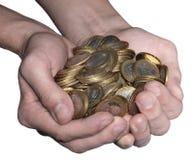 full näve för mynt Arkivbild