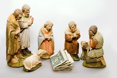 Full Nativity Scene Commercialism. Full nativity scene displaying Commercialism vs Christmas Royalty Free Stock Photo