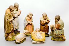 Full Nativity Scene Commercialism. Full nativity scene displaying Commercialism vs Christmas Royalty Free Stock Photos
