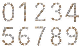 Full numeral set made of metallic brackets Royalty Free Stock Photography