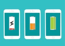 Full och låg energi för batterimobiltelefon Royaltyfria Bilder