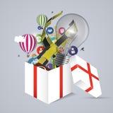 Full open gift box. Vector illustration Stock Photos