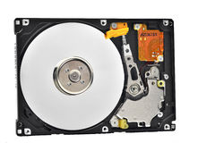 Full opened hard Drive. Full size view of an open hard drive, non-volatile storage device Royalty Free Stock Photos