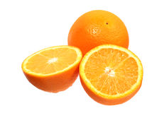 Full orange fruit and segments Stock Images