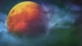 Full orange harvest halloween moon in the clouds 4K loop
