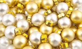 Full pack of opaque christmas balls. Full pack of opaque silver and golden christmas balls Stock Photo