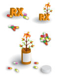 Full page of herbal remedies illustrations. Plant growing from a prescription pill bottle sprouting colorful medicinal capsules, plus illustrations of loose Royalty Free Stock Images
