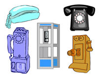 Full page of telephones. Full page of bold and colorful vectors illustrations of telephones, pay phone, phone booth, retro and newer. EPS 8 compatible with no Stock Photo