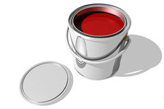 Full paint can and cover (3D) Stock Photos