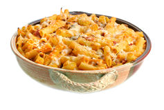 Full Pan of Baked Ziti on White Royalty Free Stock Image