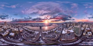 Portland downtown sunrise 360 by 180 photosphere Stock Images