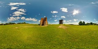 Full 360 panorama in equirectangular equidistant spherical projection of destroyed the ancient medieval castle on a sunny summer royalty free stock image
