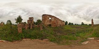 Full 360 by 180 panorama in equirectangular spherical equidistant projection in ruined medieval castle. Skybox for photorealistic. VR content stock images