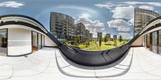 Full 360 panorama in equirectangular spherical projection, Skybox for VR 3d content. View from the balcony on the elite. Residential complex in sunny day royalty free stock photo