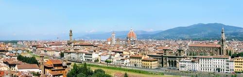 Full panorama of Florence. Panorama of Florence with Basilica di Santa Maria del Fiore, Palazzo Vecchio, Ponte Vecchio, Uffizi Gallery and Basilica di Santa Stock Photography