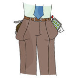 Full Pant Pockets. An image of a man with full pockets Stock Image