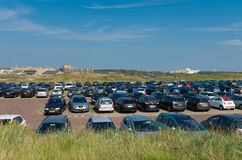 Full parking area in dunes Royalty Free Stock Image