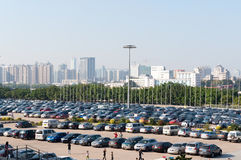 Full Parking Lot. Guangzhou China, November 27th,2011: CECF (Pazhou) Complex, located in Pazhou Island in southeast part of Guangzhou, is uniquely designed in a Stock Image