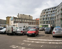 Full parking lot. In front of some stores in Poznan, Poland Stock Image