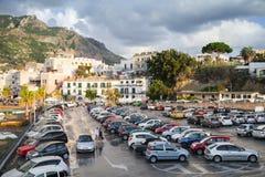 Full Parking lot near the port of Forio, Ischia Stock Photo