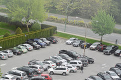 Full of parking space outside police station Royalty Free Stock Photo