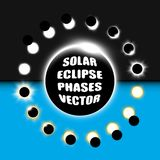 Full and partial solar eclipse vector design elements set. Monochrome and colorful set of sun eclipse phases. Rare, beautiful astronomical phenomenon Royalty Free Stock Image