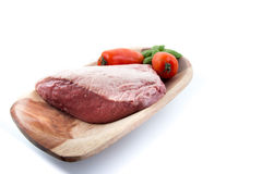Full piece of cow beef white background Royalty Free Stock Photos